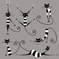 'Funny striped cats, collection'