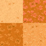 Vintage seamless pattern with poppy flowers