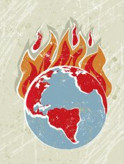World Globe with Flames, Global Warming