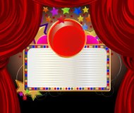 Red curtains with white board banner