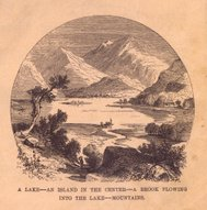 Old, Black/White Illustration of Mountains and Lake, 1800's