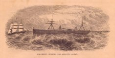 Old, Black and White Illustration of Steamship Crossing Atlantic