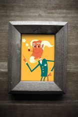 Old man pointing smoking pipe in wooden frame