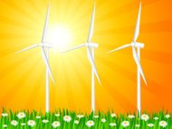 grassy field and wind generators