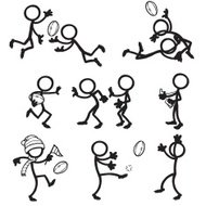 Stick Figure People Aussie Rules Football