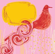 Abstract bird on a bright pink background