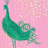 Abstract green bird on a bright pink background