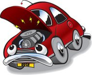 Cartoon of an old broken down car