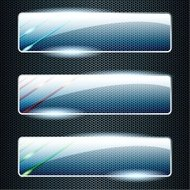 Transparent horizontal glass banners with color elements