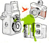 hand drawn old camera set