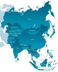Map of Asia: Labelled