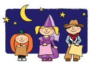 Halloween trick or treat kids illustration