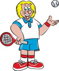 tennis player mascot