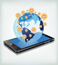 Smiley all over the world by mobile communication.