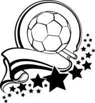 Soccer Ball With Pennant & Stars Design