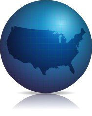 USA Map on globe  with shadow and reflection