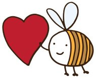 Bee holding large love heart