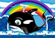 Killer Whale and Fish Rainbow Scene