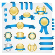 Blue banners and ribbons set