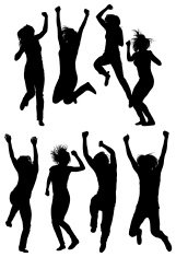 Silhouette of women jumping