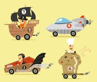 Crazy cars 2 Pirate Ship Space Vampire and cupcake