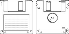 floppy disk or diskette front and back line art