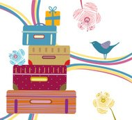 Pile of Suitcases and Gifts, Flowers, Bird