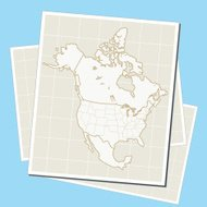 North America map on paper