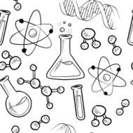 Seamless science lab vector background