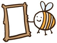 Illustration of a bee holding picture frame