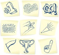 Sports Symbols - Doodles on Post-It