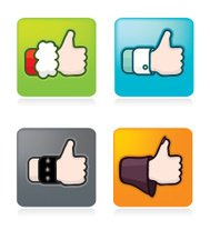 Icon set of various thumbs up hands
