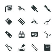 Tattoo Shop Silhouette Icons