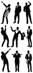Multiple images of business people gesturing