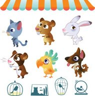 Collection of cartoon vector pets on white background