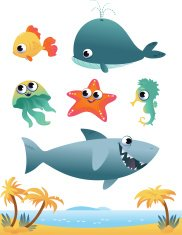 Collection of cartoon vector sea animals on white background