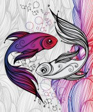 abstract colorful fish on the background of waves