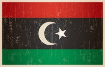 Libyan flag in grunge and vintage style.