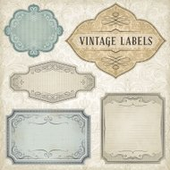 Vintage Labels with Seamless Pattern