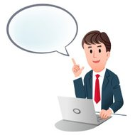 Businessman indicating up speech bubble with index finger