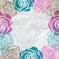 Color roses frame on crumpled paper