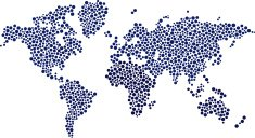World map made by dots