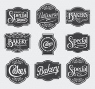 Vector designs of ornate calligraphy shop signs