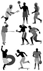 Silhouette of sports people in different action