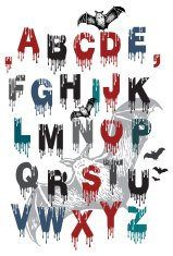 alphabet for Halloween and flying bats