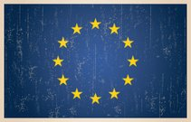 European Union flag in grunge and vintage style.