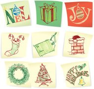 Christmas Doodles on Post-Its - Holiday Symbols