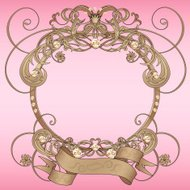 Classical round frame with vintage ornament, jewels and banner