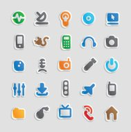 Sticker icons for technology and industry