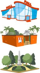 Public building mall shopping zoo square set 4